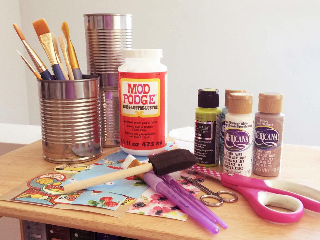 υλικά για χρωματιστά κονσερβοκούτια