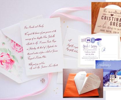 εναλλακτικές προτάσεις για γαμήλιες προσκλήσεις κολλαζ