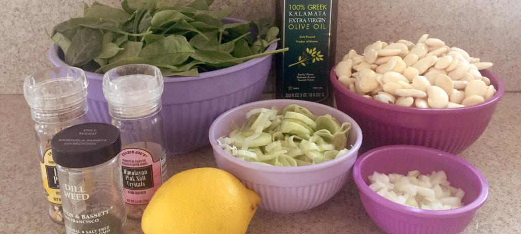 Φασόλια γίγαντες με σπανάκι στο φούρνο - υλικά