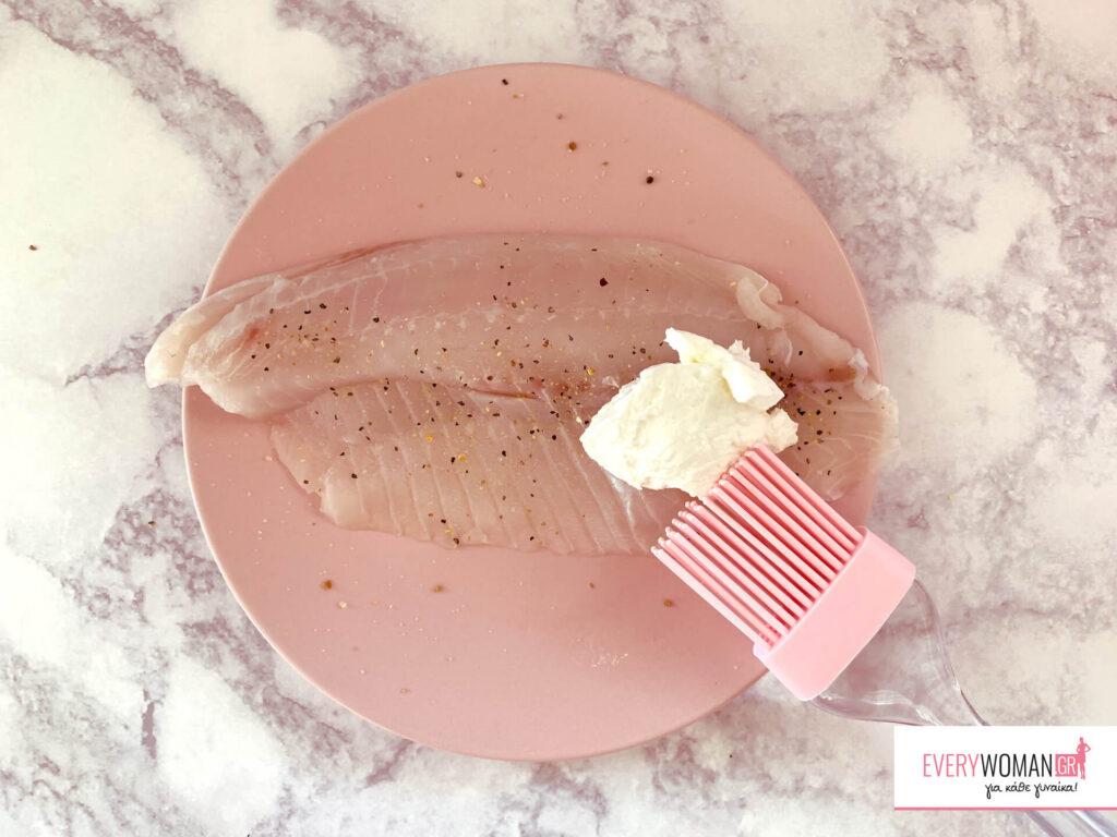 Φιλέτο ψαριού με επικάλυψη από φιστίκια Αιγίνης