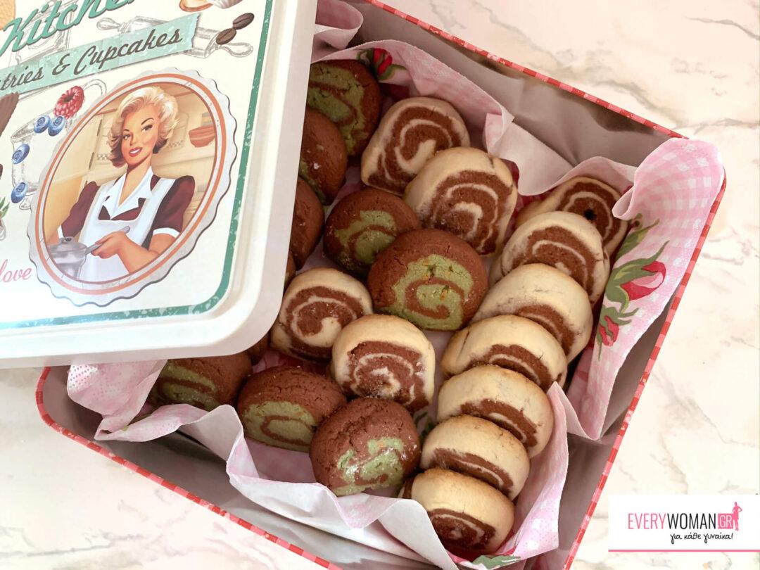 Βουτυρένια μπισκότα βανίλια-σοκολάτα